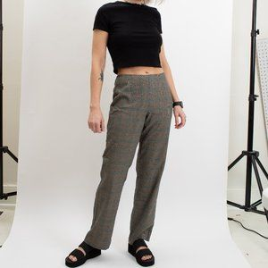 90s Plaid Flat Front Pants- by Bentley A.